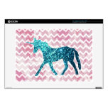 "Pink Chevron, Blue Glitter Unicorn 15"" Laptop Decals"