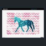 "Pink Chevron, Blue Glitter Unicorn 15&quot; Laptop Decals<br><div class=""desc"">A blue glitter unicorn on a background of a pink and white chevron pattern. Girly pink design.</div>"