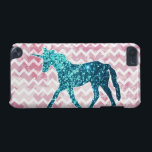 "Pink Chevron, Blue Glitter Unicorn iPod Touch (5th Generation) Case<br><div class=""desc"">A blue glitter unicorn on a background of a pink and white chevron pattern. Girly pink design.</div>"