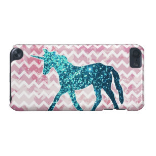 Pink Chevron, Blue Glitter Unicorn iPod Touch (5th Generation) Case