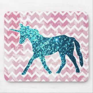 Pink Chevron, Blue Glitter Unicorn Mouse Pad