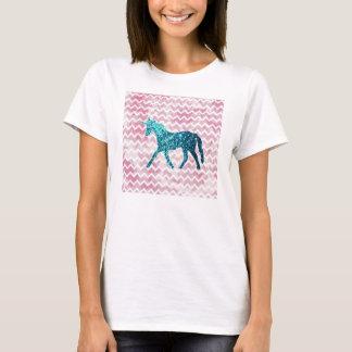 Pink Chevron, Blue Glitter Unicorn T-Shirt