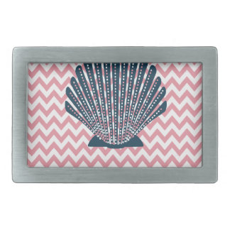 Pink Chevron Blue Seashell Belt Buckle