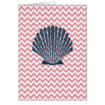 Pink Chevron Blue Seashell Cards