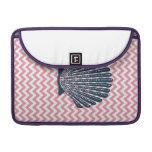 Pink Chevron Blue Seashell Sleeve For MacBooks