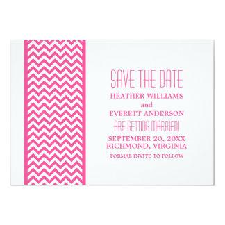 Pink Chevron Border Save the Date Invite
