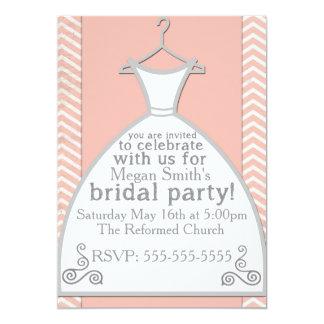 Pink Chevron Bridal Shower Invite Announcement