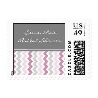 Pink Chevron Bridal Shower Wedding Stamps