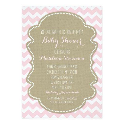 pink chevron burlap baby shower invitations zazzle