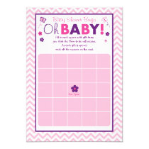 Pink Chevron Butterfly Baby Shower Bingo Cards