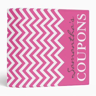 Pink chevron coupon organizer book binder holder