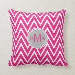 Pink Chevron Custom Monogram Pillow