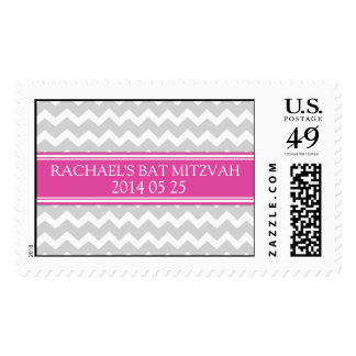 Pink Chevron Custom Name Bat Mitzvah Stamps