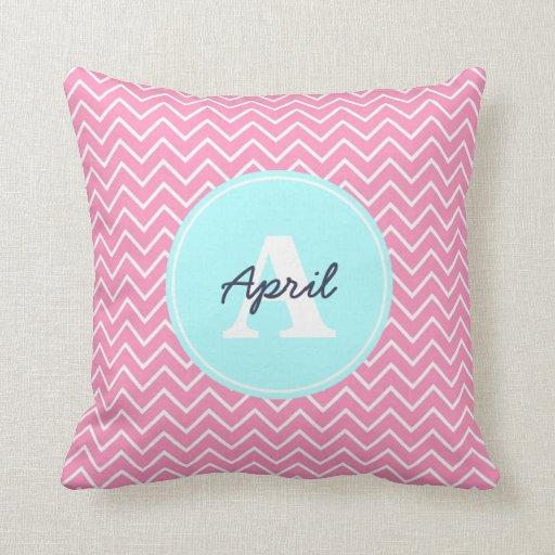 Custom Down Throw Pillows : Pink Chevron Custom Throw Pillow Zazzle