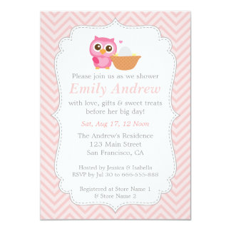 Pink Chevron, Cute Owl Baby Shower 4.5x6.25 Paper Invitation Card