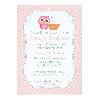 Pink Chevron, Cute Owl Baby Shower Card