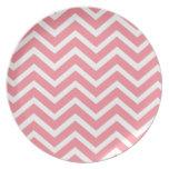pink chevron dinner plate