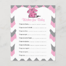 Pink Chevron Elephant Baby Girl Shower - Wishes