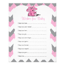 Pink Chevron Elephant Baby Girl Shower - Wishes Flyer