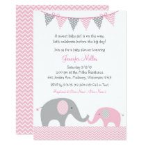 Pink Chevron Elephant Baby Shower Card