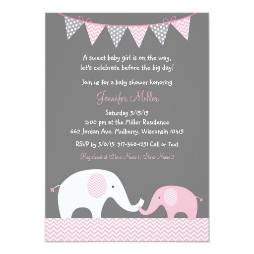Pink Chevron Elephant Baby Shower Invitations
