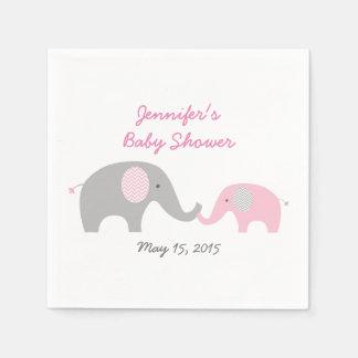 Pink Chevron Elephant Baby Shower Napkin
