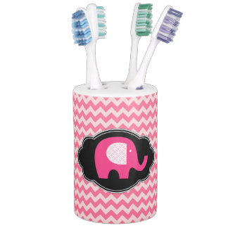 Pink Chevron Elephant Custom Bathroom Set