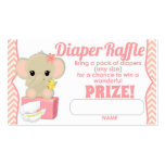 Pink Chevron Elephant Diaper Raffle Tickets 100pk Double-Sided Standard Business Cards (Pack Of 100)