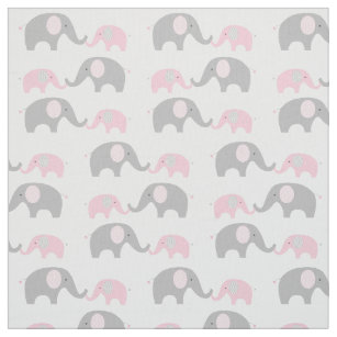 Pink Chevron Elephant Nursery Fabric