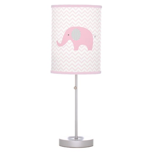 Pink Chevron Elephant Nursery Lamp