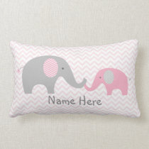 Pink Chevron Elephant Nursery Lumbar Pillow