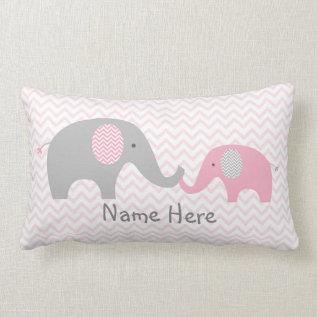 Pink Chevron Elephant Nursery Lumbar Pillow at Zazzle