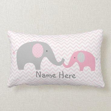 LittlePrintsParties Pink Chevron Elephant Nursery Lumbar Pillow