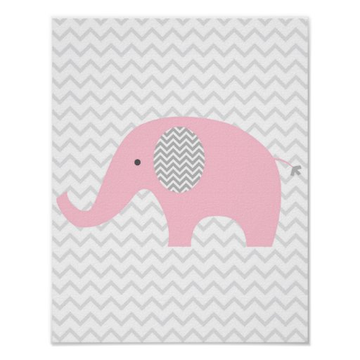 Pink Chevron Elephant Nursery Wall Art Print