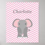 Pink Chevron Elephant Personalized Nursery Decor Poster