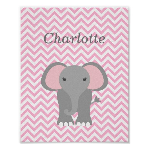 Pink Chevron Elephant Personalized Nursery Decor Poster