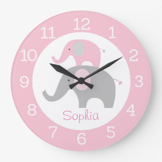 Pink Chevron Elephant Personalized Wall Clock