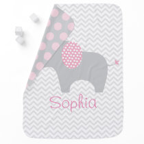 Pink Chevron Elephant Receiving Blanket