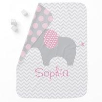 Pink Chevron Elephant Receiving Blanket
