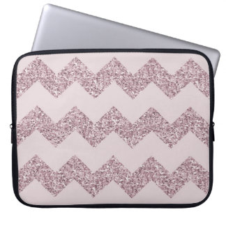 Pink Chevron Faux Glitter Computer Sleeves
