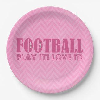 Pink Chevron Football Play It Love It Paper Plate