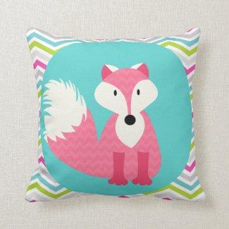 pink chevron fox on aqua throw pillow