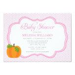 Pink Chevron Frame Pumpkin Fall Baby Shower Custom Invite
