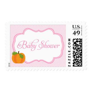Pink Chevron Frame Pumpkin Fall Baby Shower Stamp