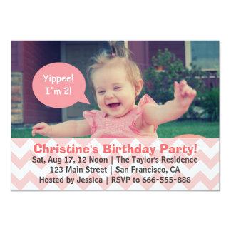 Pink Chevron Girl Birthday, Speech Bubble, Turns 2 Card