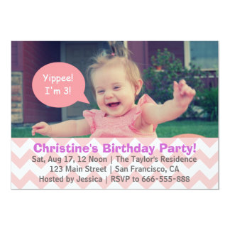 Pink Chevron Girl Birthday, Speech Bubble, Turns 3 Card