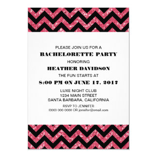 Pink Chevron Glitter Bachelorette Party Card