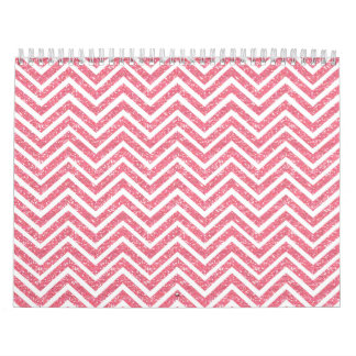 Pink Chevron Glitter Look ZigZag Shimmer Girly Calendar