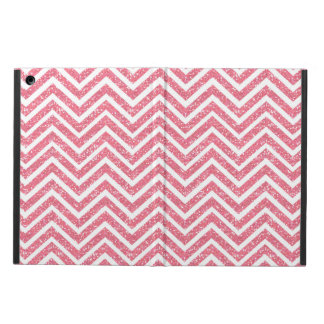Pink Chevron Glitter Look ZigZag Shimmer Girly iPad Air Cover