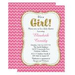 Pink Chevron Gold Glitter  Baby Shower Invitation